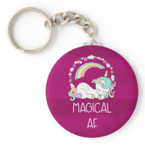 Humorous Unicorn Magical AF on Dark Red Pattern Keychain