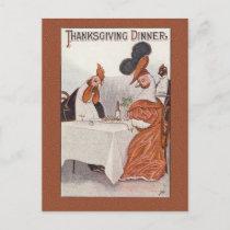Humorous Vintage Thanksgiving Dinner Postcard Repr