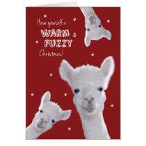 Humorous Warm & Fuzzy Christmas Card with Llamas