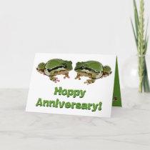 Humorous Wedding Anniversary Frog Couple Card