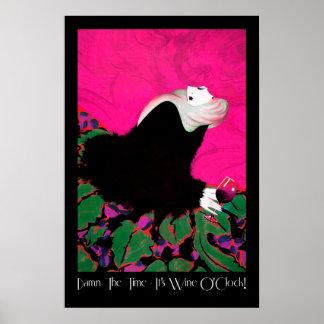 Humorous wine poster Pink Hair It's Wine O'Clock!