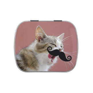 Humorous Yawning Ginger tabby Cat with Mustache Jelly Belly Tin