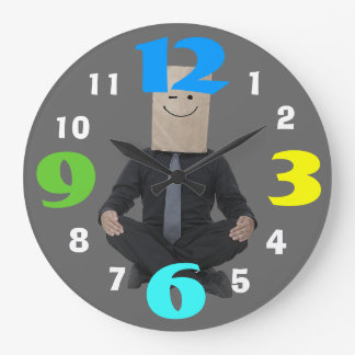 Humorous Zen Office Clock With Coloruful  Numbers