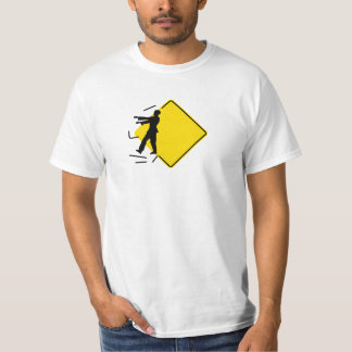 """Humorous, """"zombie crossing"""" warning road sign t shirt"""