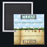 """Humorus Clean Dirty Dishwasher Magnet<br><div class=""""desc"""">Funny clean dirty dishwasher magnet. Great for the slob of the house!</div>"""