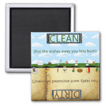 Humorus Clean Dirty Dishwasher Magnet