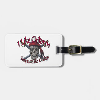 Humorus pirate skull on crossed sabers bag tag