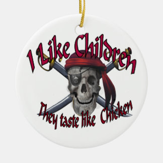 Humorus pirate skull on crossed sabers ceramic ornament