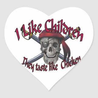 Humorus pirate skull on crossed sabers heart sticker