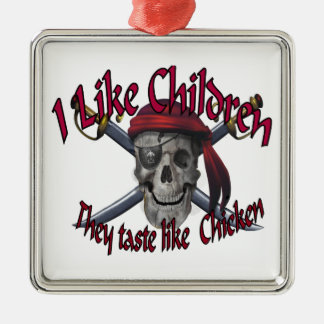 Humorus pirate skull on crossed sabers metal ornament