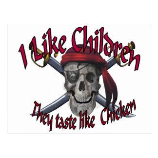 Humorus pirate skull on crossed sabers postcard