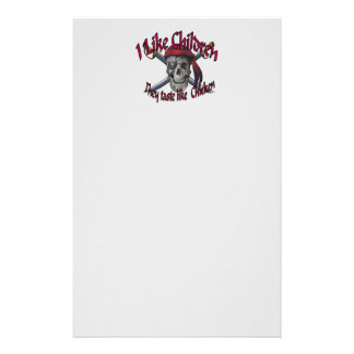 Humorus pirate skull on crossed sabers stationery