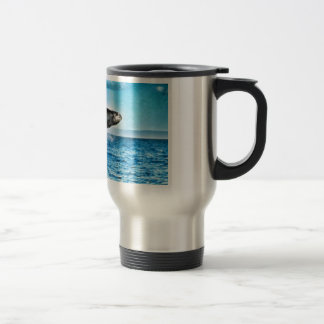Hump Back Whale playing in the Pacific Ocean. Travel Mug