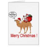 Hump Day Camel Christmas with Santa Greeting Card