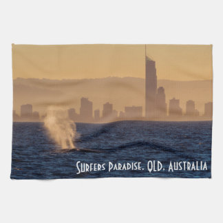 Humpack Whales Surfers Paradise Queensland Kitchen Towels
