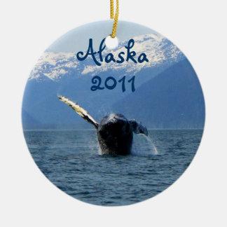 Humpback Barrel Roll; Alaska Souvenir Double-Sided Ceramic Round Christmas Ornament