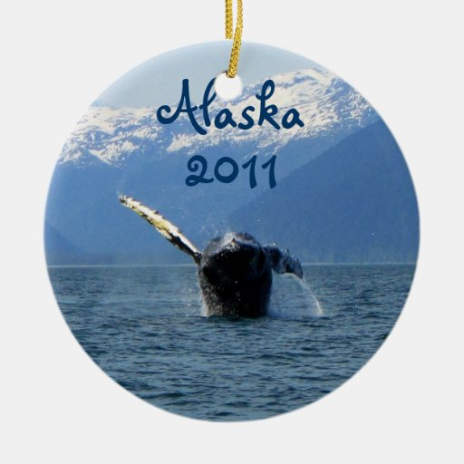 Humpback Barrel Roll; Alaska Souvenir Christmas Ornaments