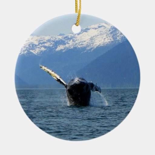 Humpback Barrel Roll Double-Sided Ceramic Round Christmas Ornament