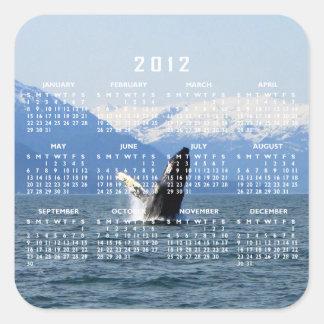 Humpback en la superficie; Calendario 2012 Calcomania Cuadradas
