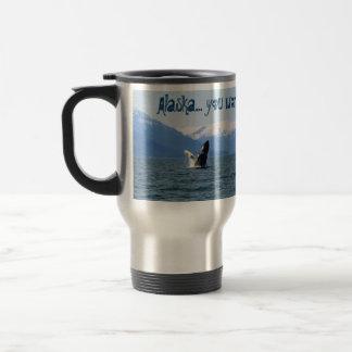 Humpback en la superficie; Recuerdo de Alaska Taza De Viaje De Acero Inoxidable