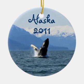 Humpback on the Surface; Alaska Souvenir Double-Sided Ceramic Round Christmas Ornament