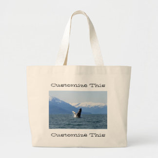 Humpback on the Surface; Customizable Large Tote Bag