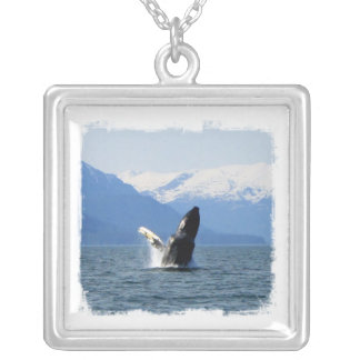 Humpback on the Surface Square Pendant Necklace