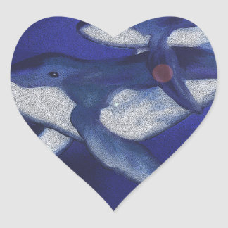 Humpback whale and baby heart sticker