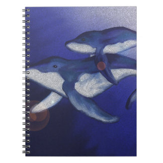 Humpback whale and baby spiral notebook