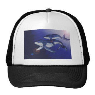 Humpback whale and baby trucker hat