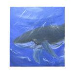 Humpback whale animal art by Gunilla Wachtel Memo Notepads