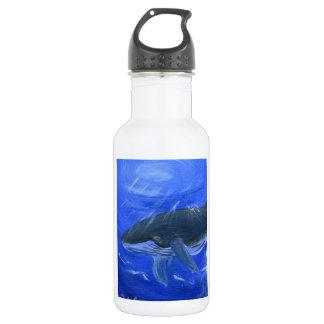 Humpback whale animal art by Gunilla Wachtel Stainless Steel Water Bottle