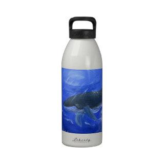 Humpback whale animal art by Gunilla Wachtel Reusable Water Bottle