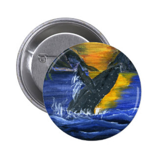 Humpback whale at Sunset Pinback Button