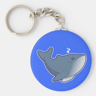 Humpback Whale Basic Round Button Keychain