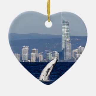 Humpback Whale Breach Surfers Paradise Australia Ceramic Ornament