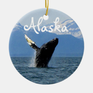 Humpback Whale Breaching; Alaska Ceramic Ornament