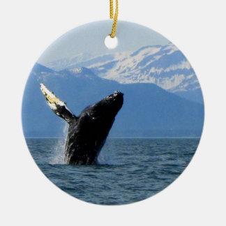 Humpback Whale Breaching Ceramic Ornament