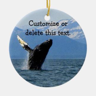 Humpback Whale Breaching; Customizable Ceramic Ornament