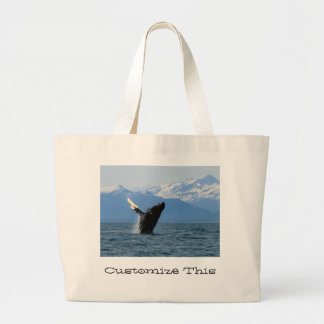 Humpback Whale Breaching; Customizable Large Tote Bag