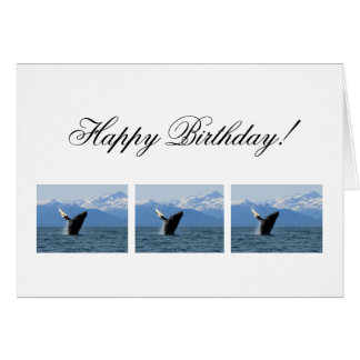 Humpback Whale Breaching; Happy Birthday Card