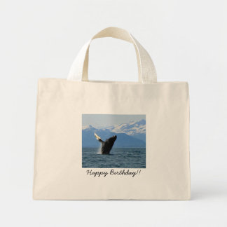 Humpback Whale Breaching; Happy Birthday Mini Tote Bag