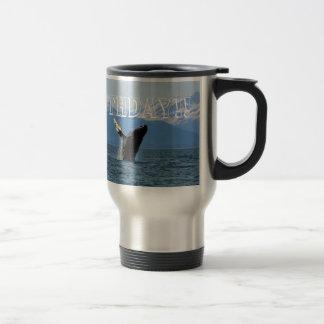 Humpback Whale Breaching; Happy Birthday 15 Oz Stainless Steel Travel Mug