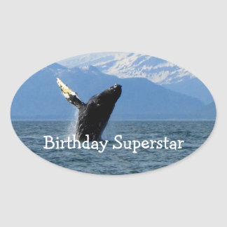 Humpback Whale Breaching; Happy Birthday Oval Sticker