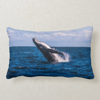 Humpback Whale Breaching Off Surfers Paradise Lumbar Pillow