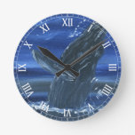 Humpback whale breaching round wall clock