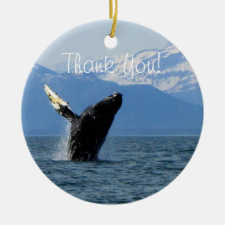 Humpback Whale Breaching; Thank You Ceramic Ornament