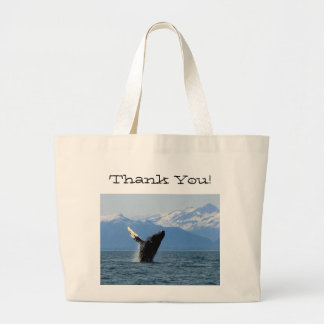 Humpback Whale Breaching; Thank You Large Tote Bag