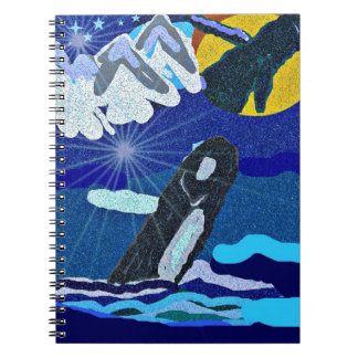 Humpback Whale breaching to an eclipse notebook