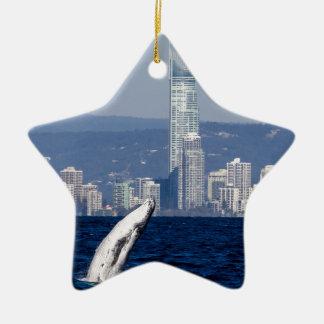 Humpback Whale Calf Breaching Surfers Paradise Ceramic Ornament